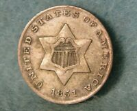 1851 THREE CENT SILVER BETTER GRADE UNITED STATES COIN