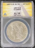 1897-S $1 MSD ANACS AU 58 DETAILS CLEANED BETTER DATE GREAT DETAIL