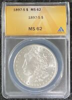 1897-S $1 MORGAN SILVER DOLLAR, ANACS SLAB MINT STATE 62, BETTER DATE,  COIN