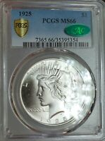 1925 P PEACE SILVER DOLLAR PCGS MS66  CAC CERTIFIED   BLAST