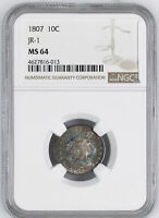 1807 DRAPED BUST 10C NGC MINT STATE 64