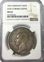 Click now to see the BUY IT NOW Price! 1835  MS62 THALER GERMANY SAXE COBURG  GOTHA  NGC GRADED LY