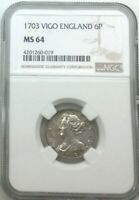 Click now to see the BUY IT NOW Price! 1703 VIGO QUEEN ANNE  ENGLAND 6 PENCE NGC MS64 MINT STATE COIN ORIGINAL TOP POP