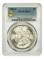 1902-S $1 PCGS MINT STATE 67 - MORGAN SILVER DOLLAR - REGISTRY QUALITY
