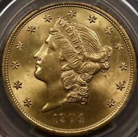 1904 $20 LIBERTY GOLD DOUBLE EAGLE PCGS MS64  SUPERB QUALITY