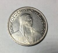 SWITZERLAND 1923 FIVE FRANC SILVER DECENT CIRCULATED COIN
