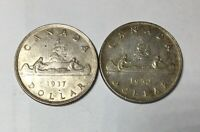 1937 & 1952 SHORT WL CANADA GEORGE VI SILVER DOLLARS   NICE 1ST AND LAST ISSUES