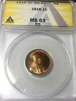 1916 P LINCOLN CENT PLEASING MS63 RED BROWN COLOUR GREAT LUSTRE ANACS