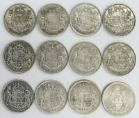 CANADIAN 80  SILVER HALF DOLLARS  1930'S   1950'S    12 COIN