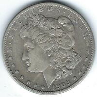 1903-S $1 MSD, KEY DATE, VF BUT LIKELY CLEANED, SCRATCH ON OBVERSE
