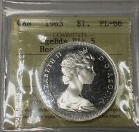 CANADA 1965 TYPE 3 BLUNT5 LG BEADS PROOF LIKE 66 ICCS HEAVY CAMEO GEM COIN