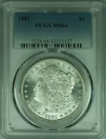 1881 MORGAN SILVER DOLLAR COIN $1 PCGS MINT STATE 64 37