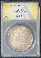 1878-P $1 MSD 8 TF VAM-12 ANACS MINT STATE 61, GREAT ORIGINAL COIN, NO DETAILS