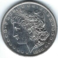 1890-S $1 MORGAN SILVER DOLLAR UNCIRCULATED DETAILS LIKELY CLEANED FULL BREAST