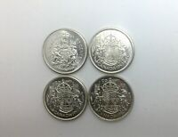 1952 1957 1958  1961 CANADA  50 CENT  NICE LOT OF 4 PIECES BLAZING LUSTRE NICE