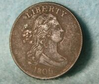 1806 DRAPED BUST HALF CENT HIGH GRADE DETAILS ROTATED REVERSE UNITED STATES COIN
