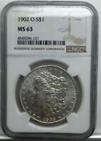 1902 O MORGAN DOLLAR NGC MS 63 FROSTED COIN NICE FOR GRADE SMALL TONING SPOTS
