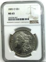 1885 O MORGAN DOLLAR NGC MS 63  FULLY FROSTED  PLEASING COIN TYPICAL STRIKE