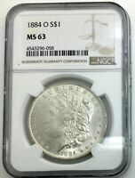 1884O MORGAN DOLLAR NGC MS 63  FULLY FROSTED  PLEASING FLASHY COIN NICE STRIKE