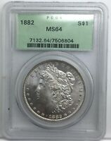 1882 P MORGAN DOLLAR PCGS MINT STATE 64 OLD GREEN HOLDERED COIN SHARP STRIKE  COIN