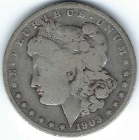 1903-S $1 MORGAN SILVER DOLLAR, LIKELY WAS CLEANED, KEY DATE