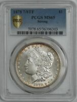 1878 7/8TF MORGAN SILVER DOLLAR $ STRONG MINT STATE 65 SECURE PCGS 944717-3