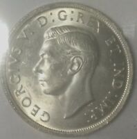 1939 GEORGE VI DOLLAR ICCS  MS64  XTC271 MOSTLY WHITE  SHARP COIN