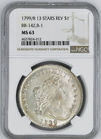 1799/8 DRAPED BUST S$1 NGC MINT STATE 63
