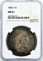 1800 DRAPED BUST $1 NGC MINT STATE 61