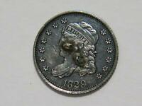 1829 CAPPED BUST 1/2 DIME 5 CENTS 90  SILVER DAMAGED ?REPAIRABLE? COIN