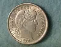 1912 BARBER SILVER DIME HIGH GRADE UNITED STATES COIN