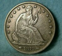 1874 WITH ARROWS SEATED LIBERTY SILVER HALF DOLLAR HIGH GRADE UNITED STATES COIN