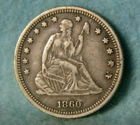1860 SEATED LIBERTY SILVER QUARTER HIGH GRADE UNITED STATES COIN