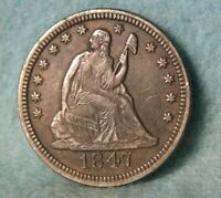 1847 DOUBLED DIE REV SEATED LIBERTY SILVER QUARTER HIGH GRADE UNITED STATES COIN