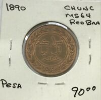 1890 GERMAN EAST AFRICA ONE PESA BRONZE CHOICE RED BROWN COIN MUCH LUSTRE KM1