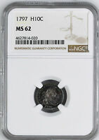 1797 DRAPED BUST H10C NGC MINT STATE 62