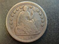 1856 UNITED STATES SEATED LIBERTY SILVER HALF DIME. FINE TO
