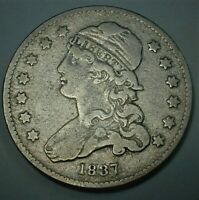 1837 USA CAPPED BUST SILVER QUARTER DOLLAR IN CIRCULATED FINE CONDITION   416