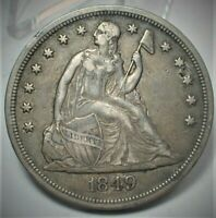 1849 SEATED LIBERTY SILVER DOLLAR XF CONDITION SMALL PIT @2