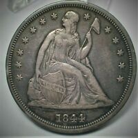 1844 USA SEATED LIBERTY SILVER DOLLAR IN XF CONDITION  427