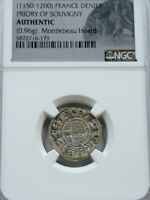 NGC AUTHENTIC MEDIEVAL FRENCH AR DENIER. 1150 1200AD. PRIORY