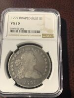 1795 $1 DRAPED BUST SILVER DOLLAR , OFF CENTER BUST NGC VG10