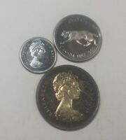 CANADA 1967 SILVER TRIO 50 CENTS  25 CENTS 10 CENTS SILVER LOT INCREDIBLE TONERS