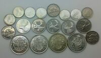 CANADA MINT STATE LOT 19  PIECES1952 1970 50 25 10 CENTS 5 CENTS GEORGE VI EIIR