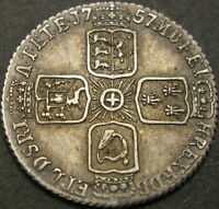 GREAT BRITAIN 6 PENCE 1757   SILVER   GEORGE II   VF   1608
