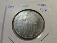 L37 PERU 1845 8 REALES XF  OLD CLEANED