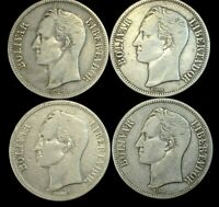 4 COIN LOT OF MIXED DATE VENEZUELA 5 BOLIVARES CROWN SIZE CO