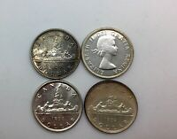 1951WL 1952 WL 1955 &1956 CANADA LOT OF 4  LUSTROUS SILVER DOLLAR COINS