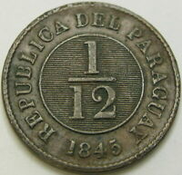 PARAGUAY 1/12 REAL 1845   SILVER   VF   1757