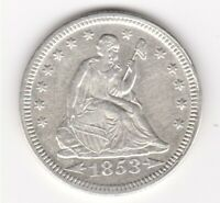 1853 SEATED LIBERTY QUARTER AU   IN GRADE WHITE COIN ARROWS